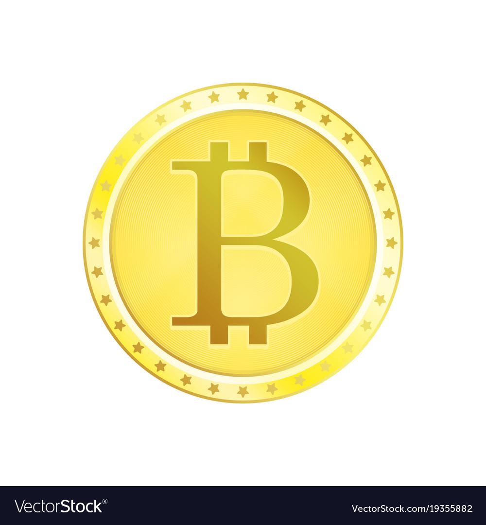 Realistic golden bitcoin coin