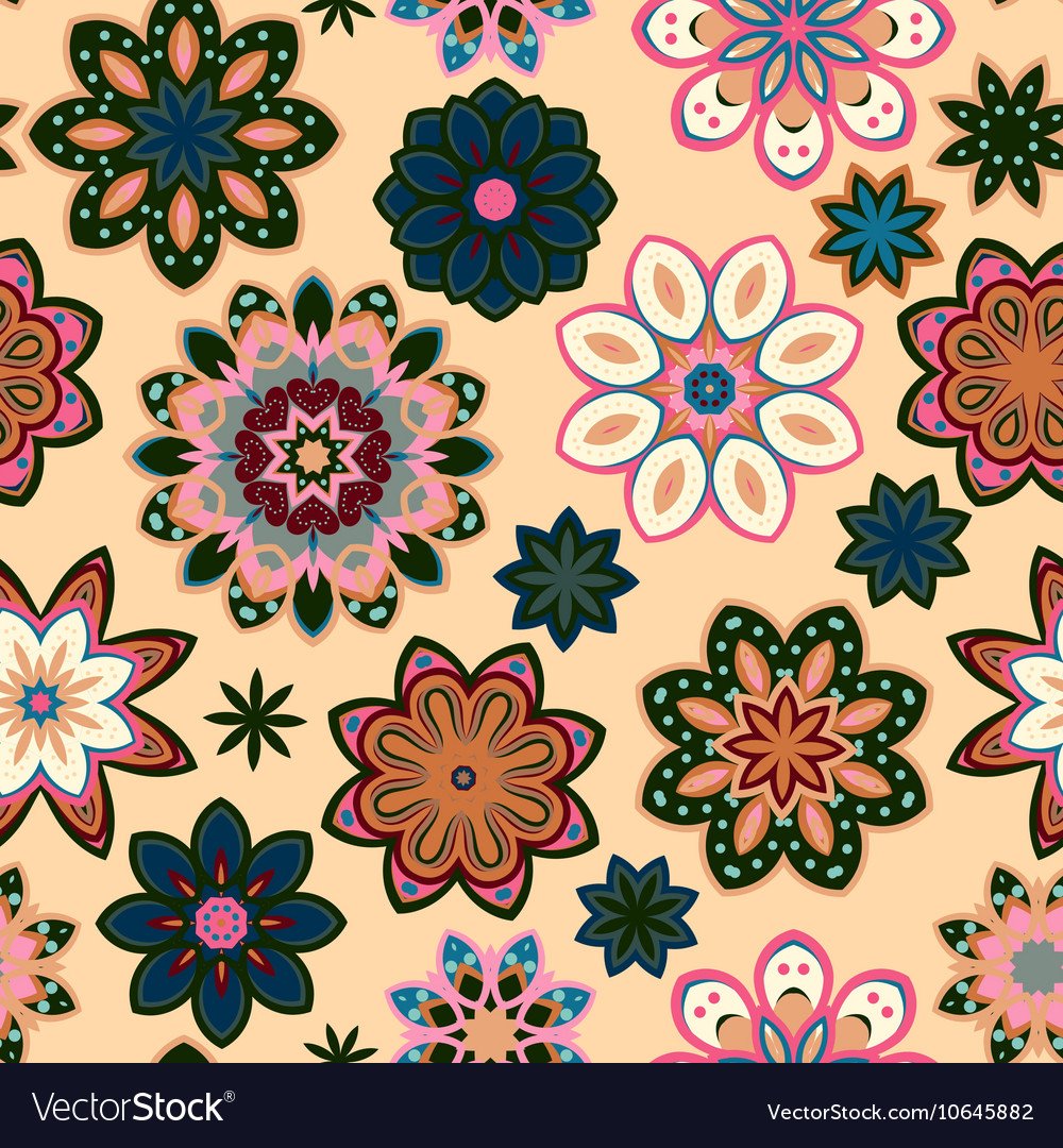 Seamless flower retro pattern in Green