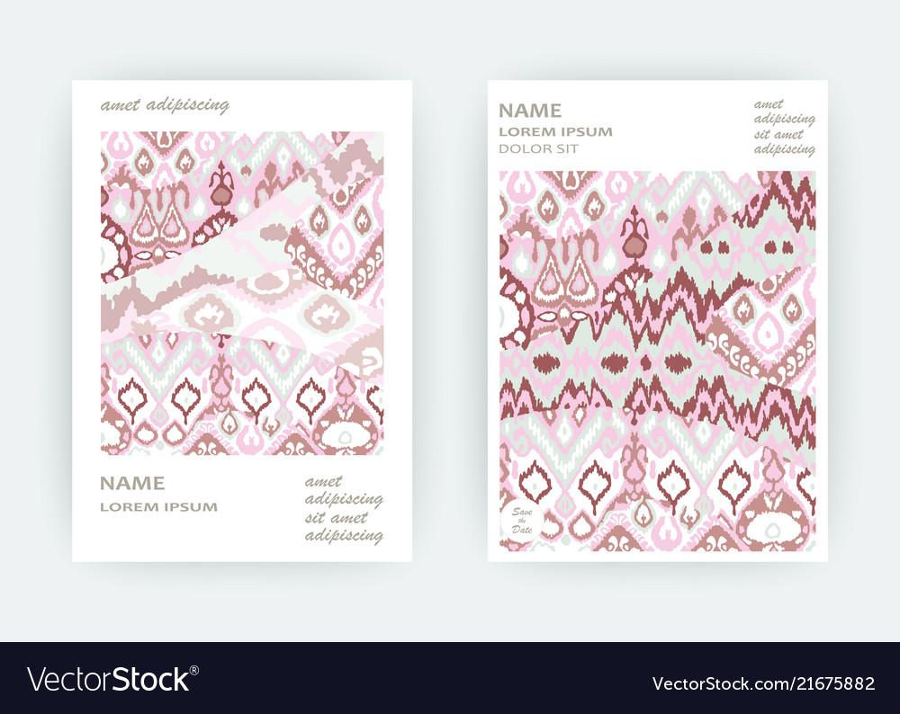 Set card ethnic bohemian arabesque pattern zigzag