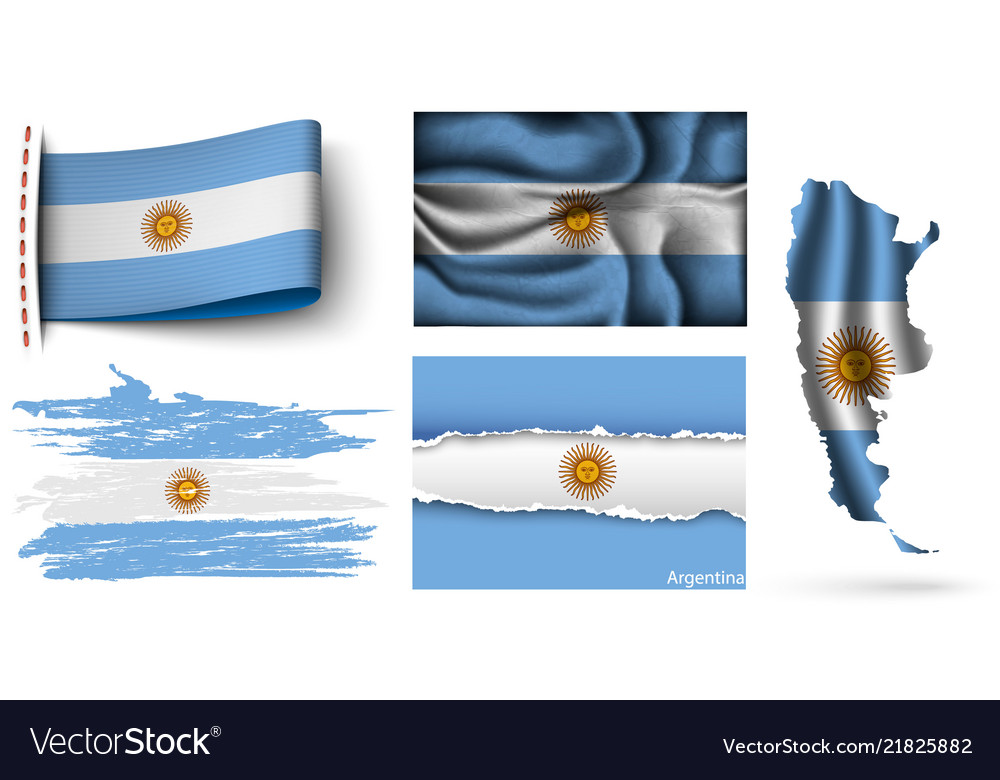 Set of argentina flags collection isolated