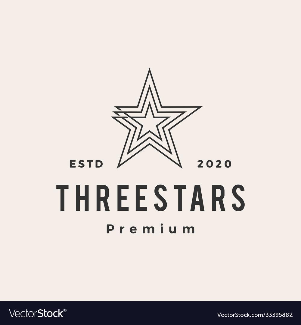 Three stars hipster vintage logo icon