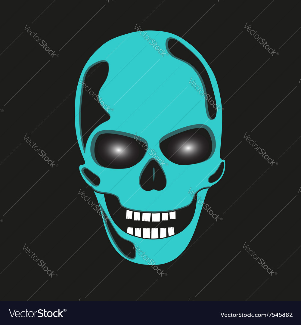 Turquoise skull with glowing eye sockets