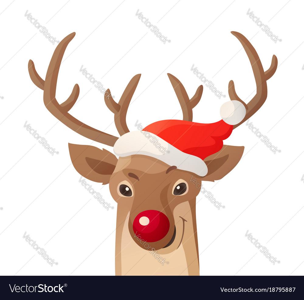 Cartoon christmas funny rudolph red
