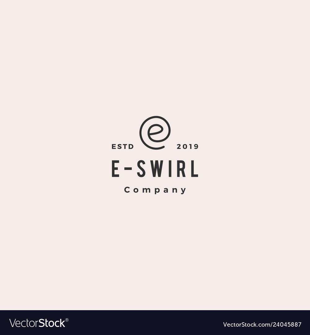 E letter swirl round logo hipster vintage retro
