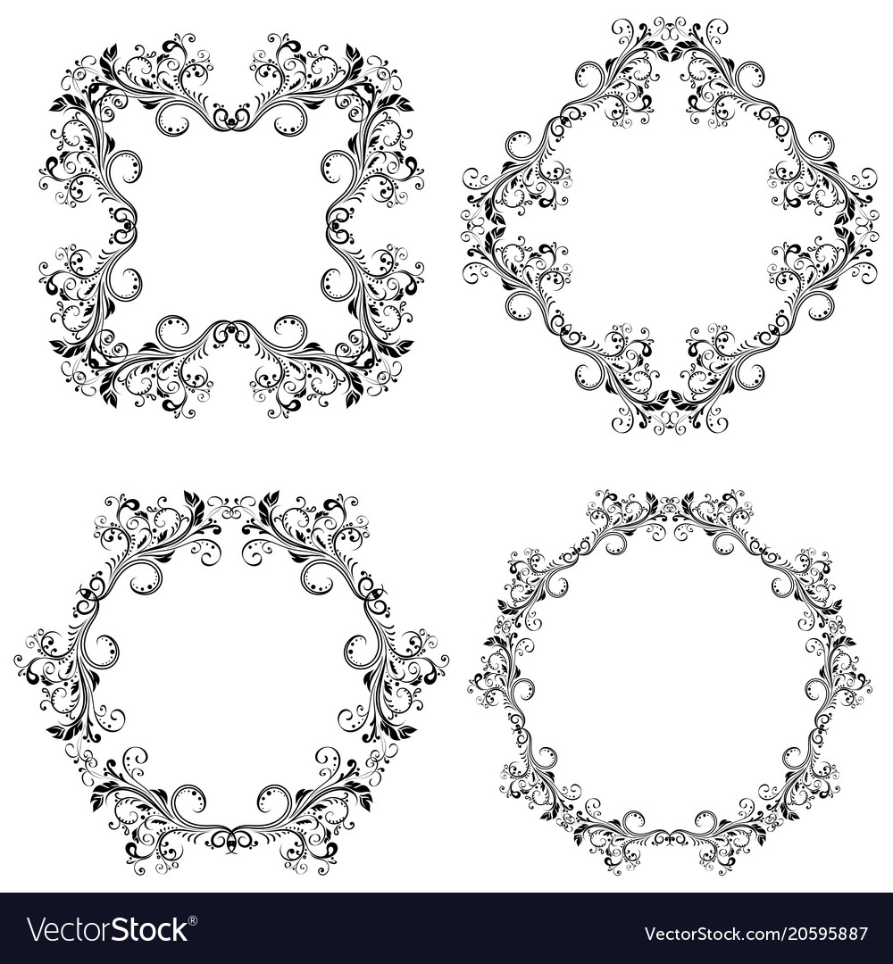 Floral decorative filigree frames black ornaments Vector Image