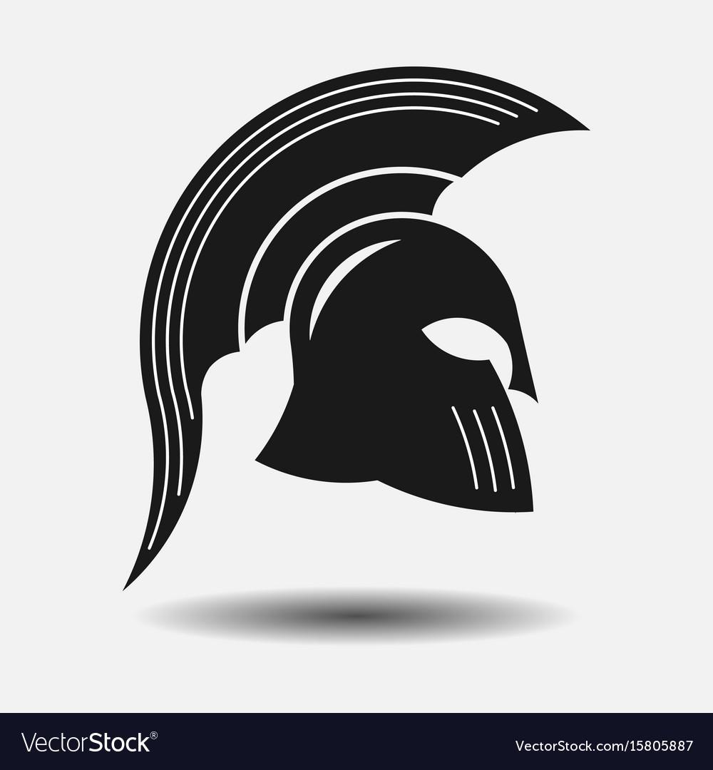 Icon spartan helmet silhouette greek warrior