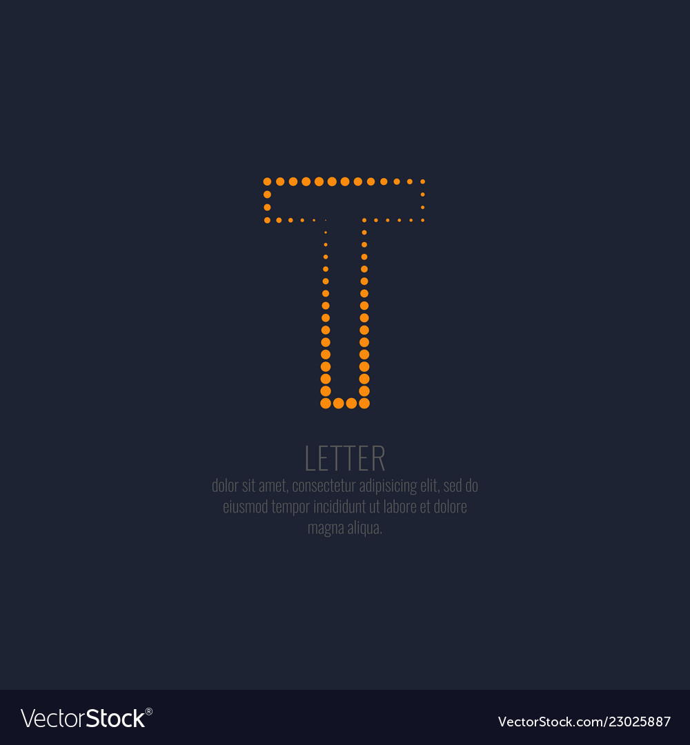 Modern dotted letter t of the latin alphabet