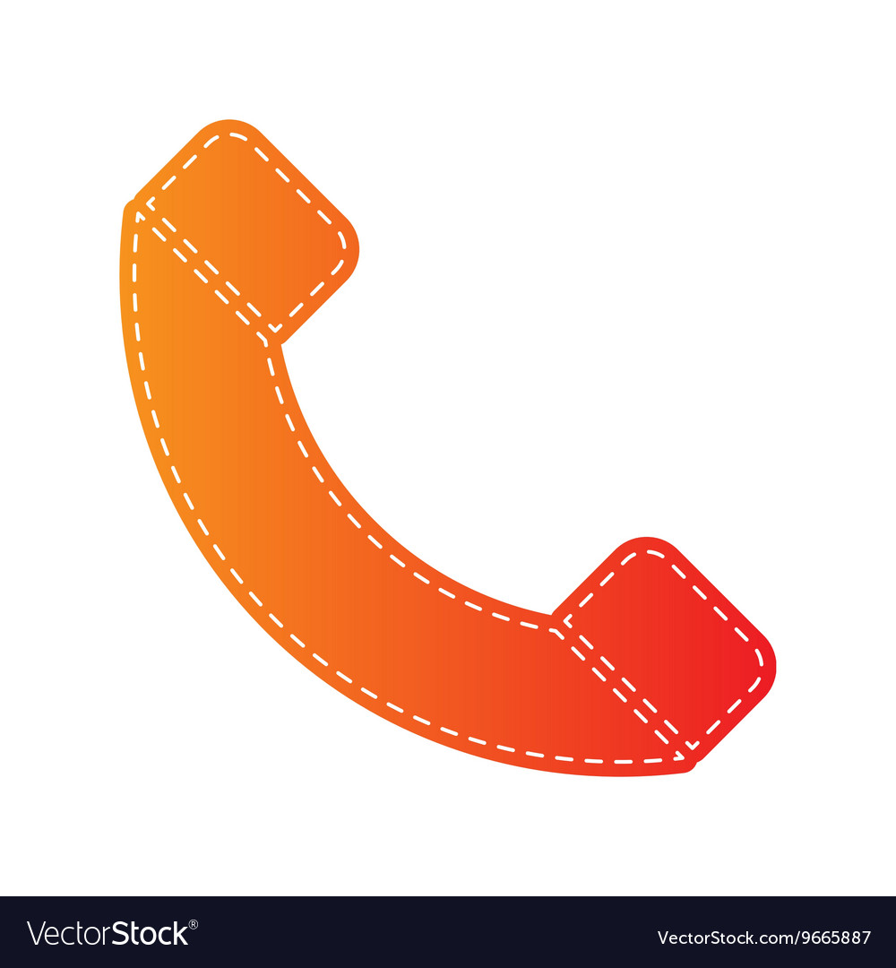 Phone sign Orange applique isolated vector image