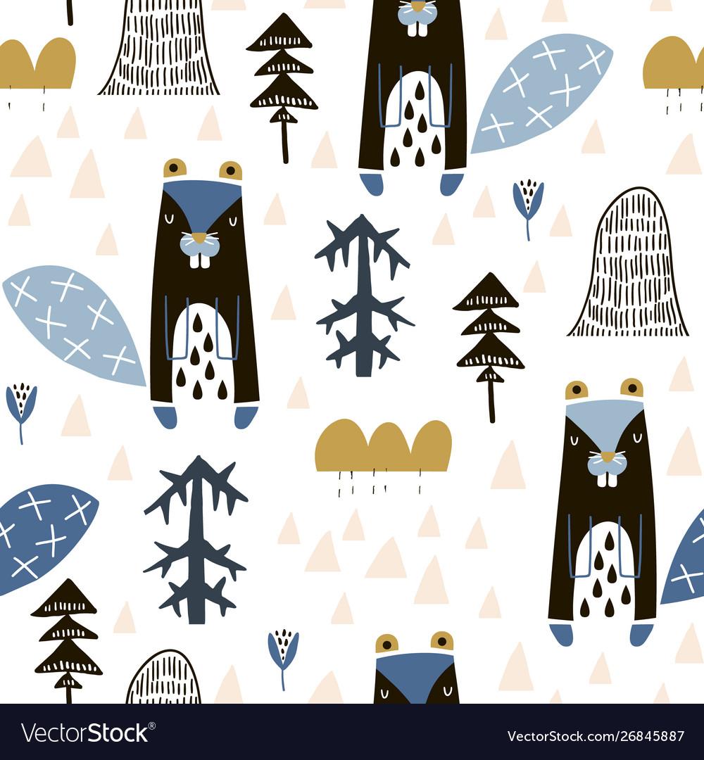Seamless childish pattern with cute beavers in the