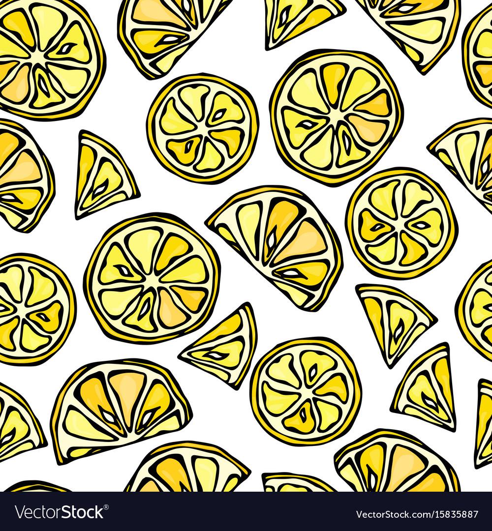 Seamless lemon slices background pattern of