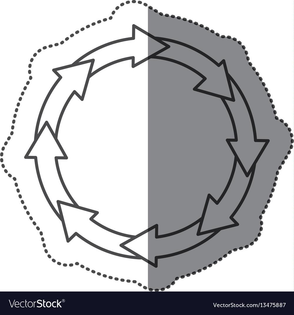 Sticker silhouette set collection circular arrow
