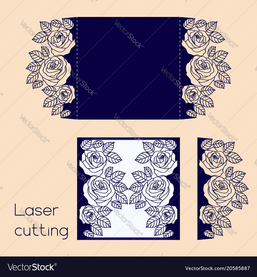 Template of wedding envelope with roses for laser