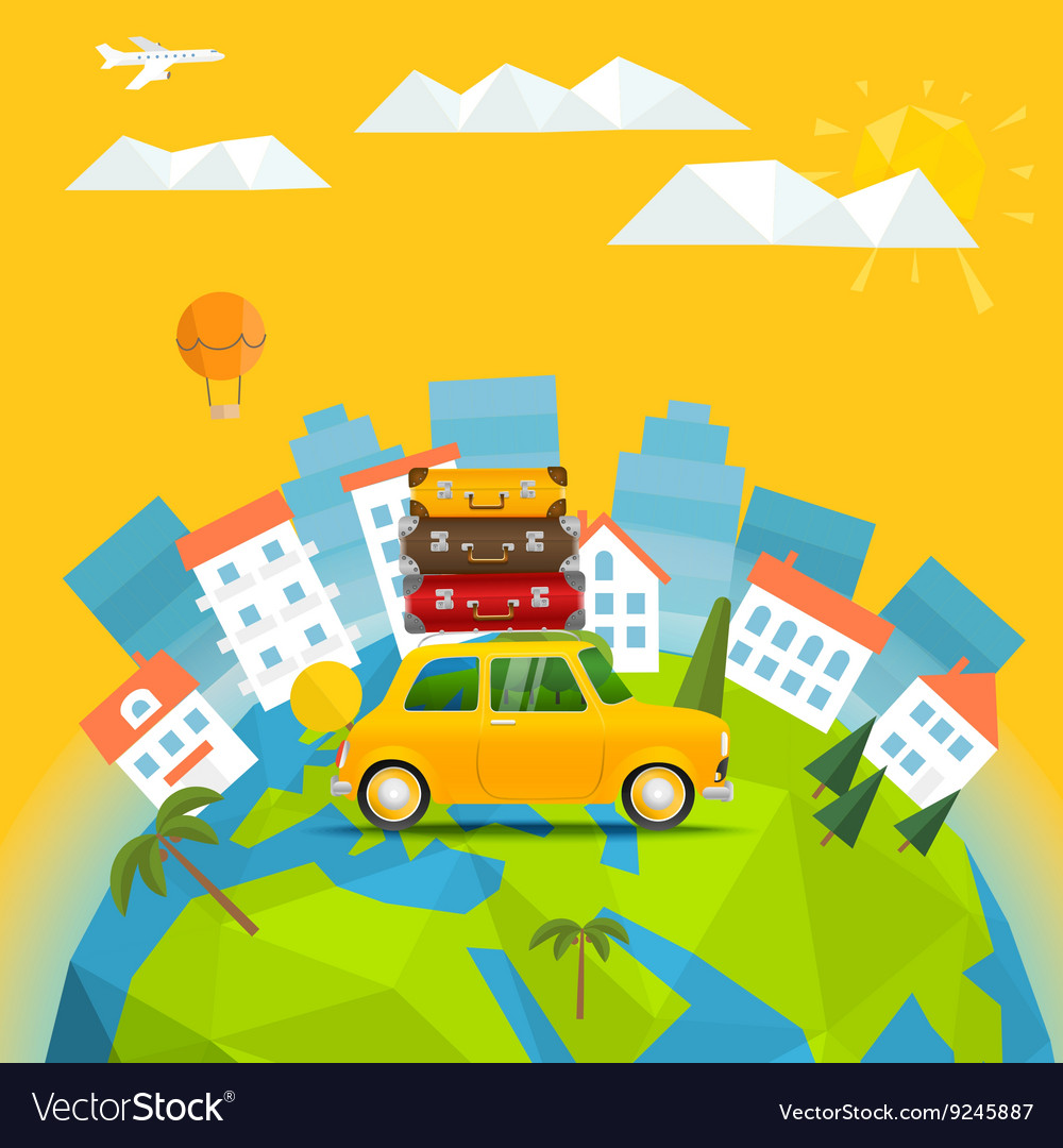 The Earth with abstract World map Summer holidays vector image