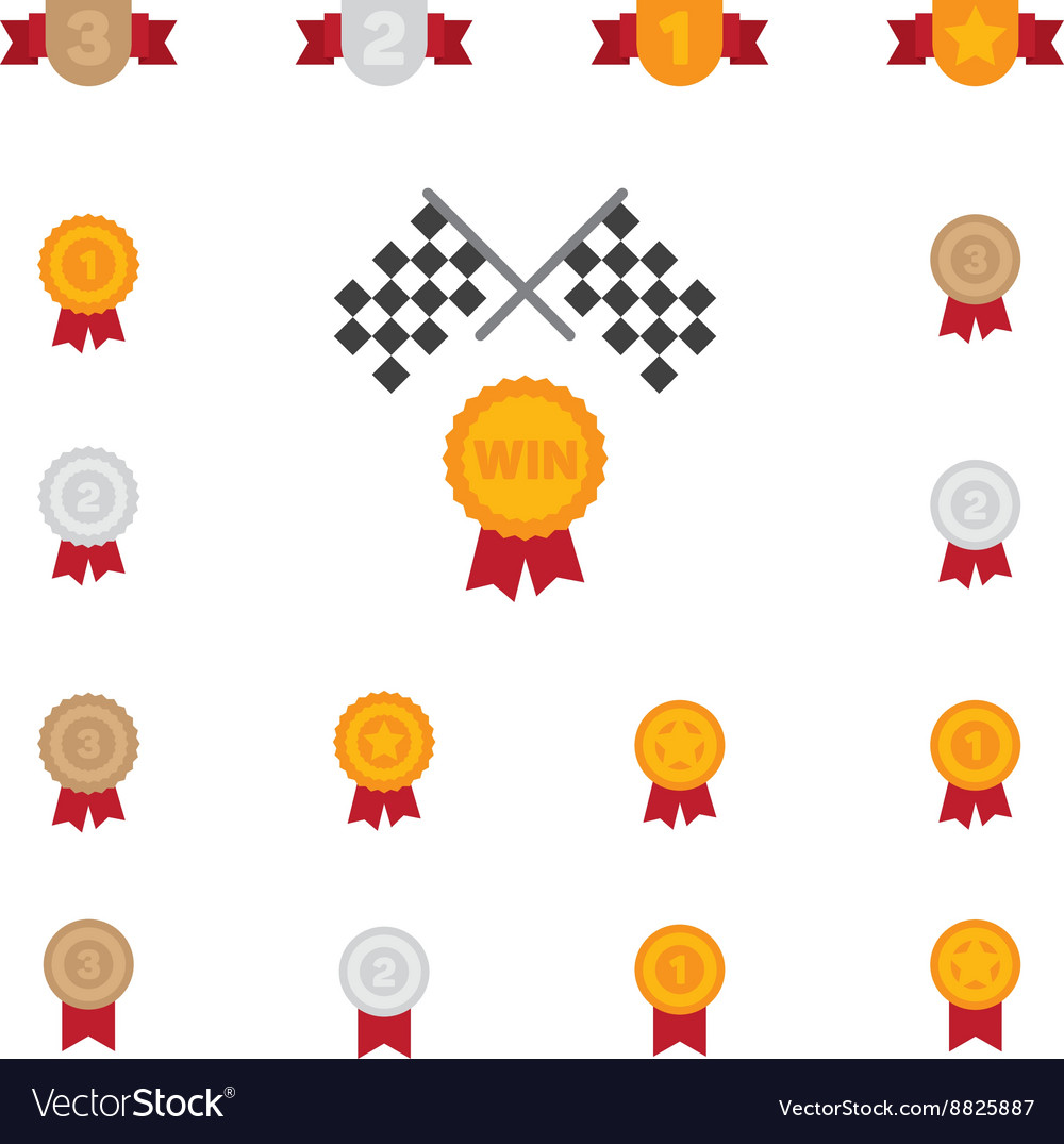 Trophy and prize symbol color flat icon on white vector image
