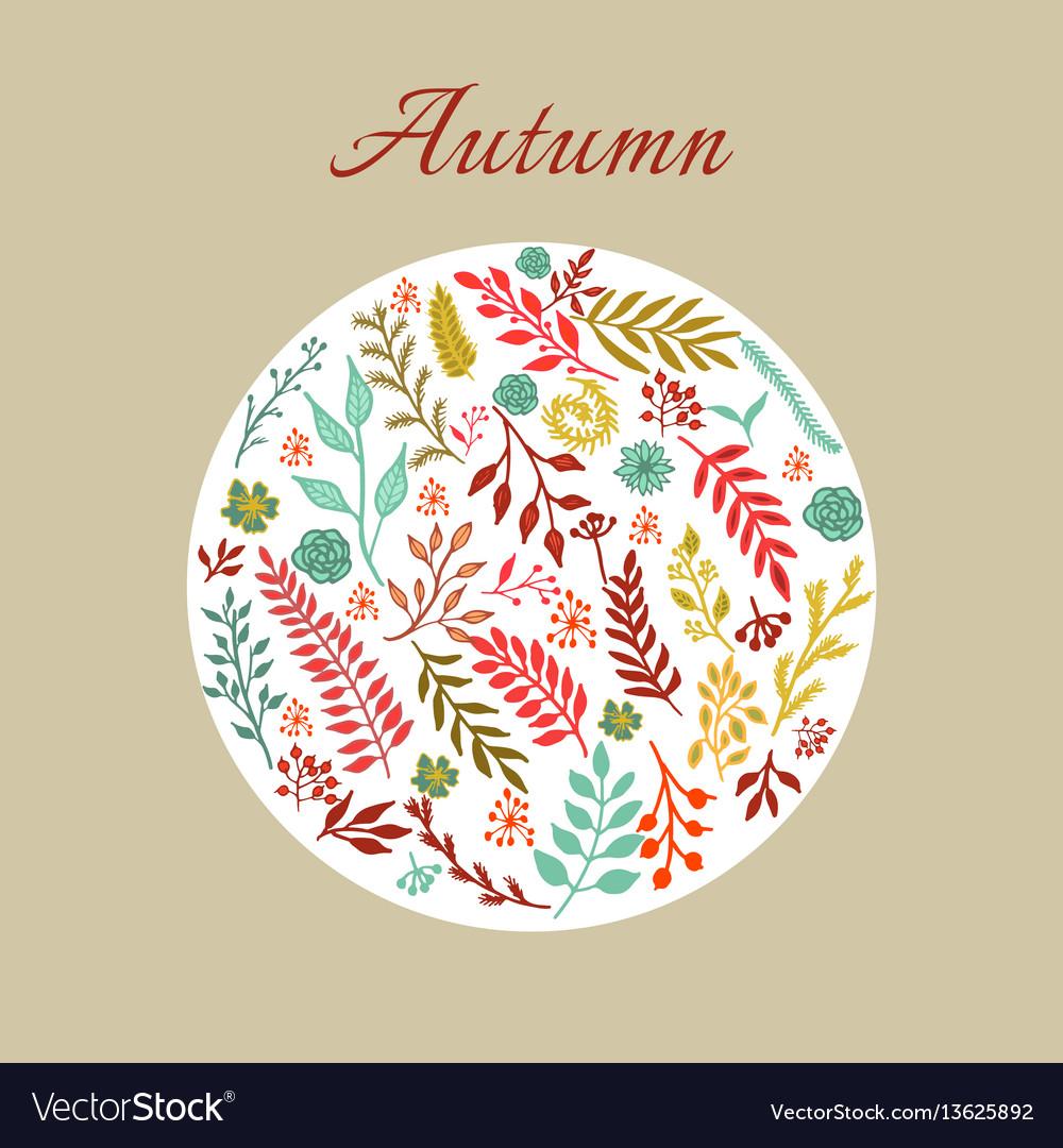 Autumn round floral pattern