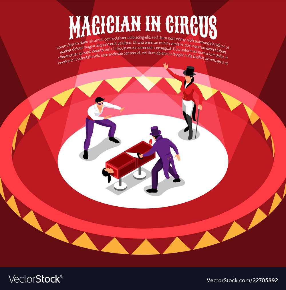 Circus magicians isometric background