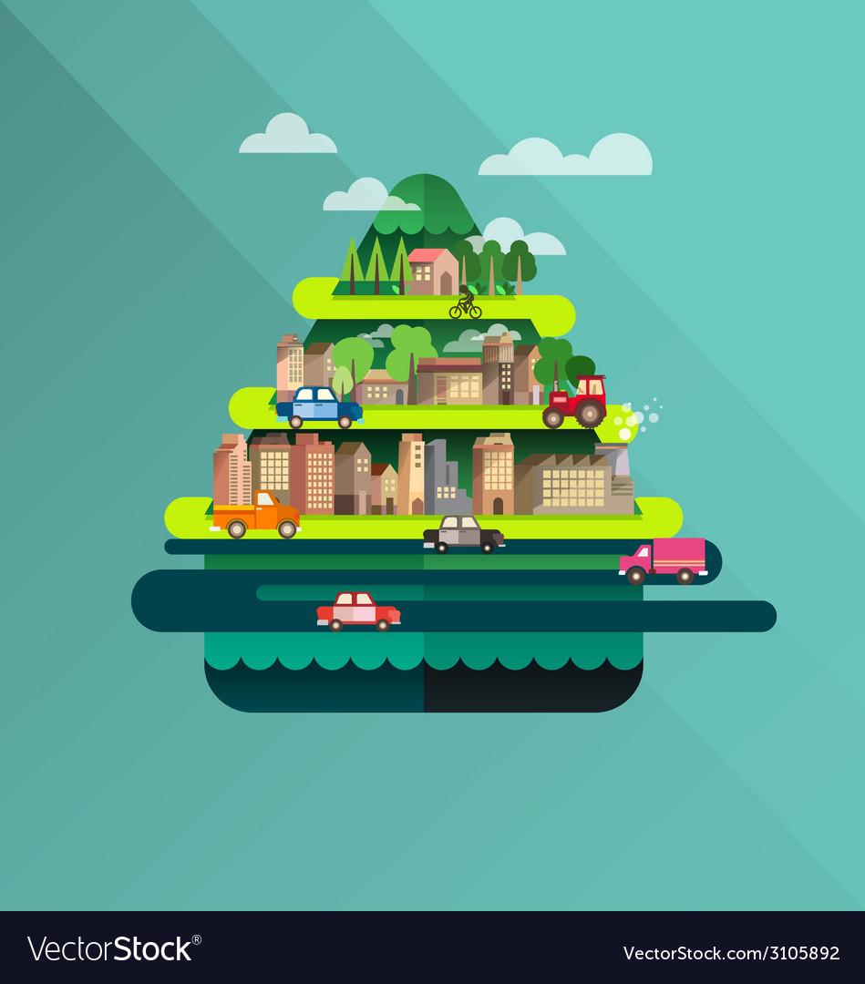 City travel landscape and building