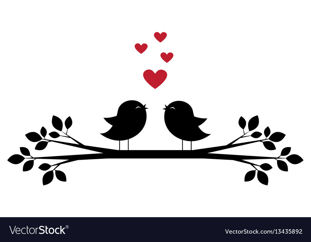 Cute birds sing and red hearts