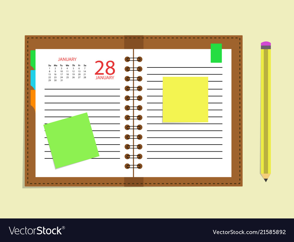 diary calendar appointment book schedule pencil vector image
