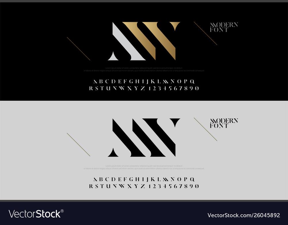Elegant alphabet letters font set modern