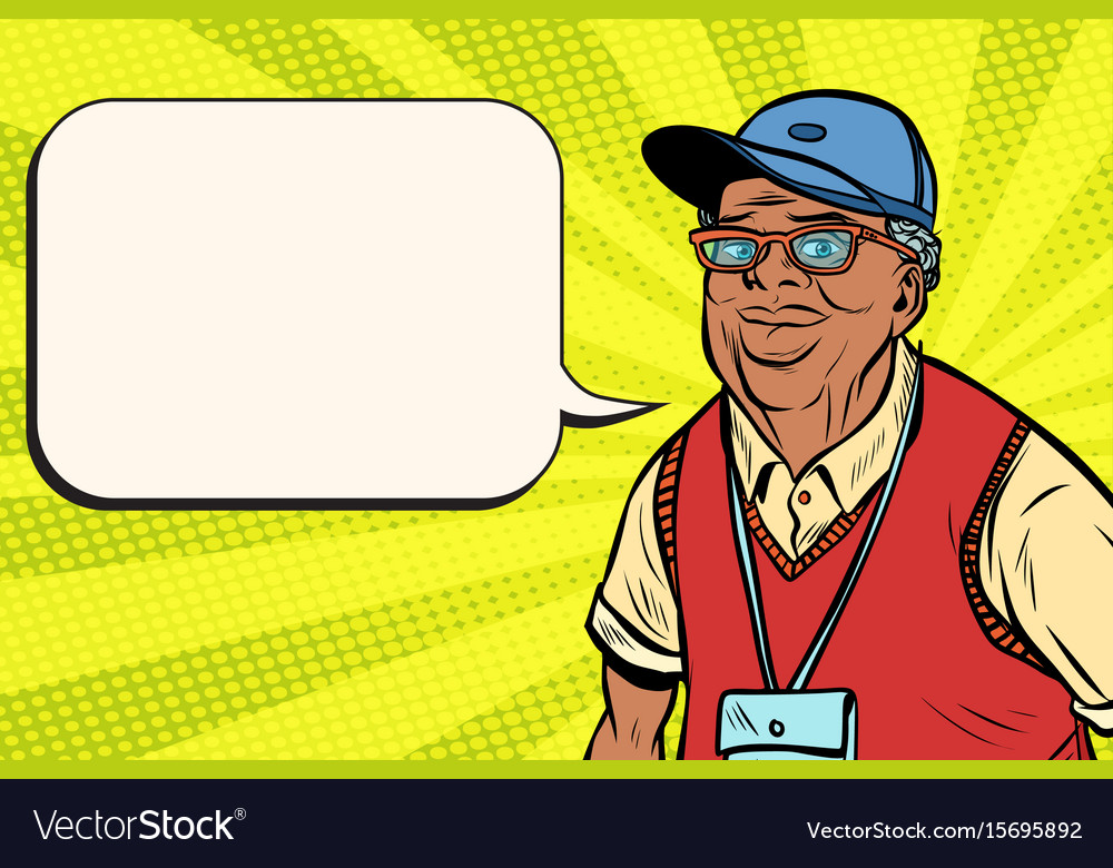 Joyful african old man in a baseball cap