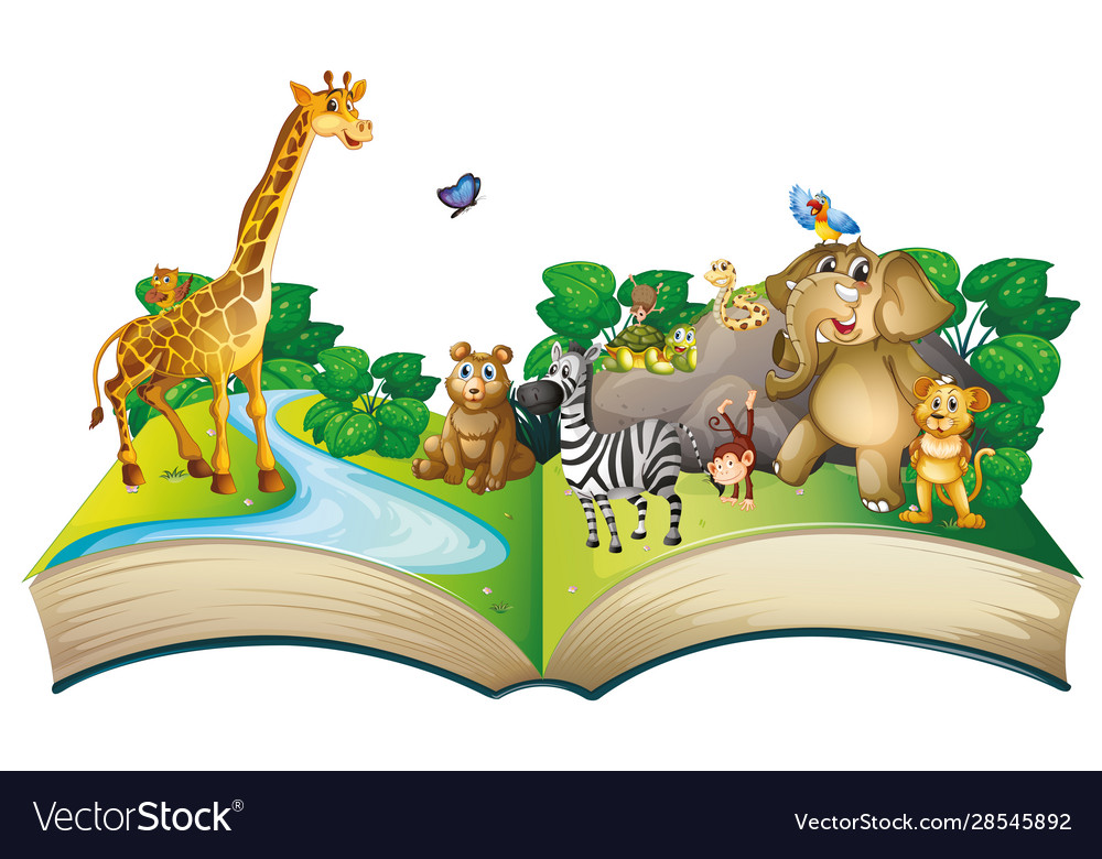 Many animals on big book vector