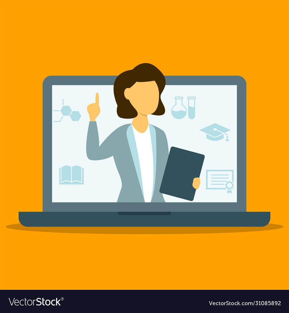 Online female tecaher pointing finger