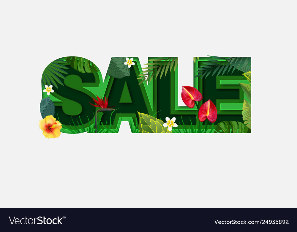 Summer sale design with tropical leaves on light