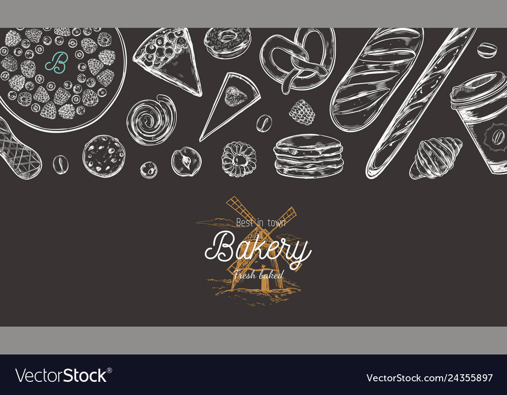 Bakery hand drawn top view