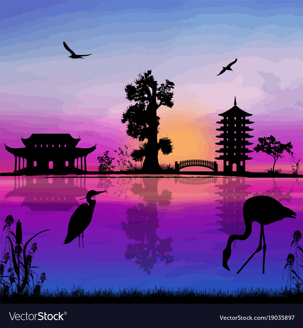 Beautiful Asian Landscape Royalty Free Vector Image
