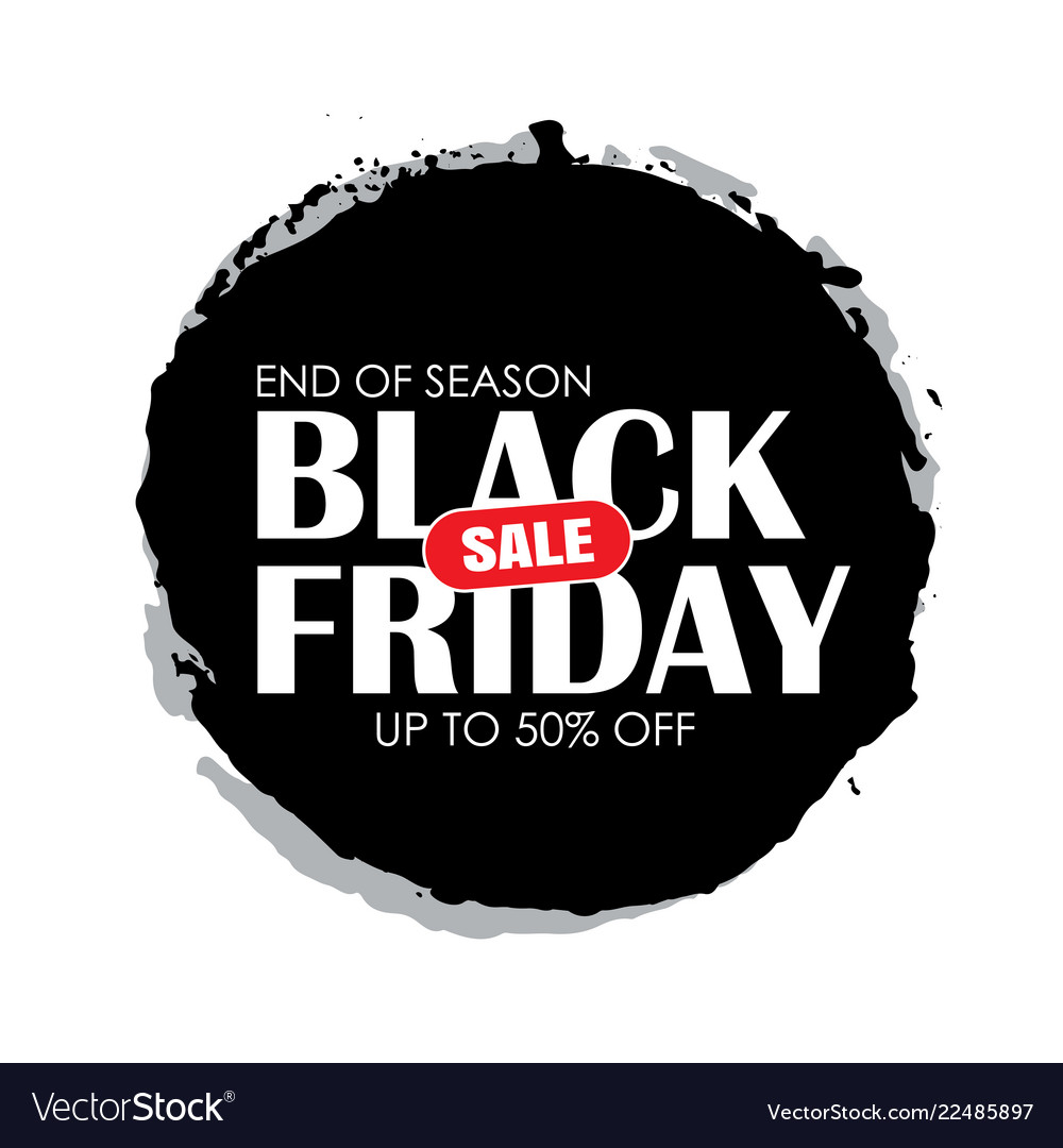 Black friday sale circle banner with white text