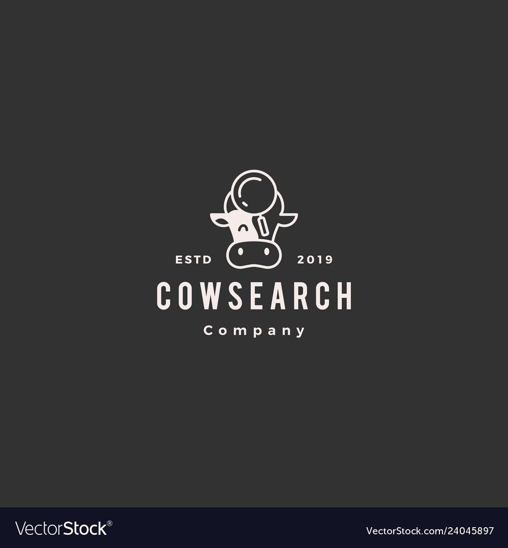 Cow bull search logo hipster retro vintage icon