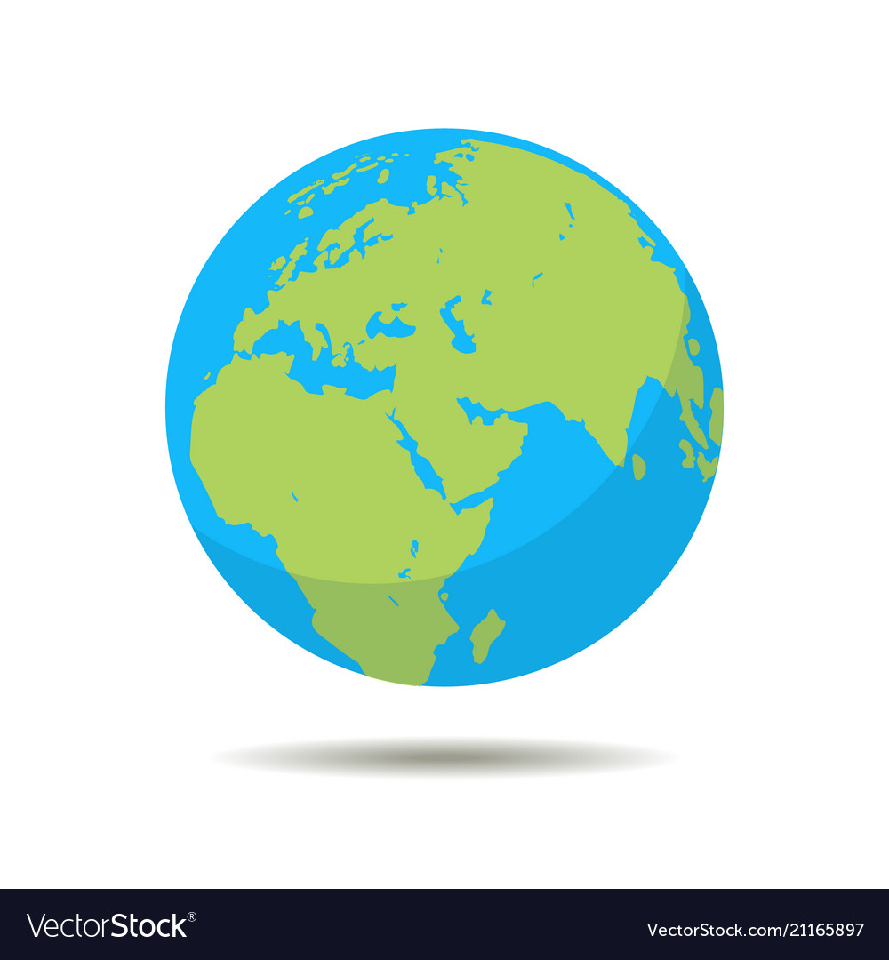 Earth icon globe planet symbol in flat style