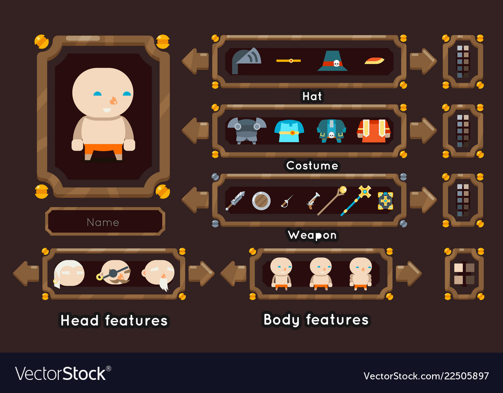 Fantasy game character generation interface