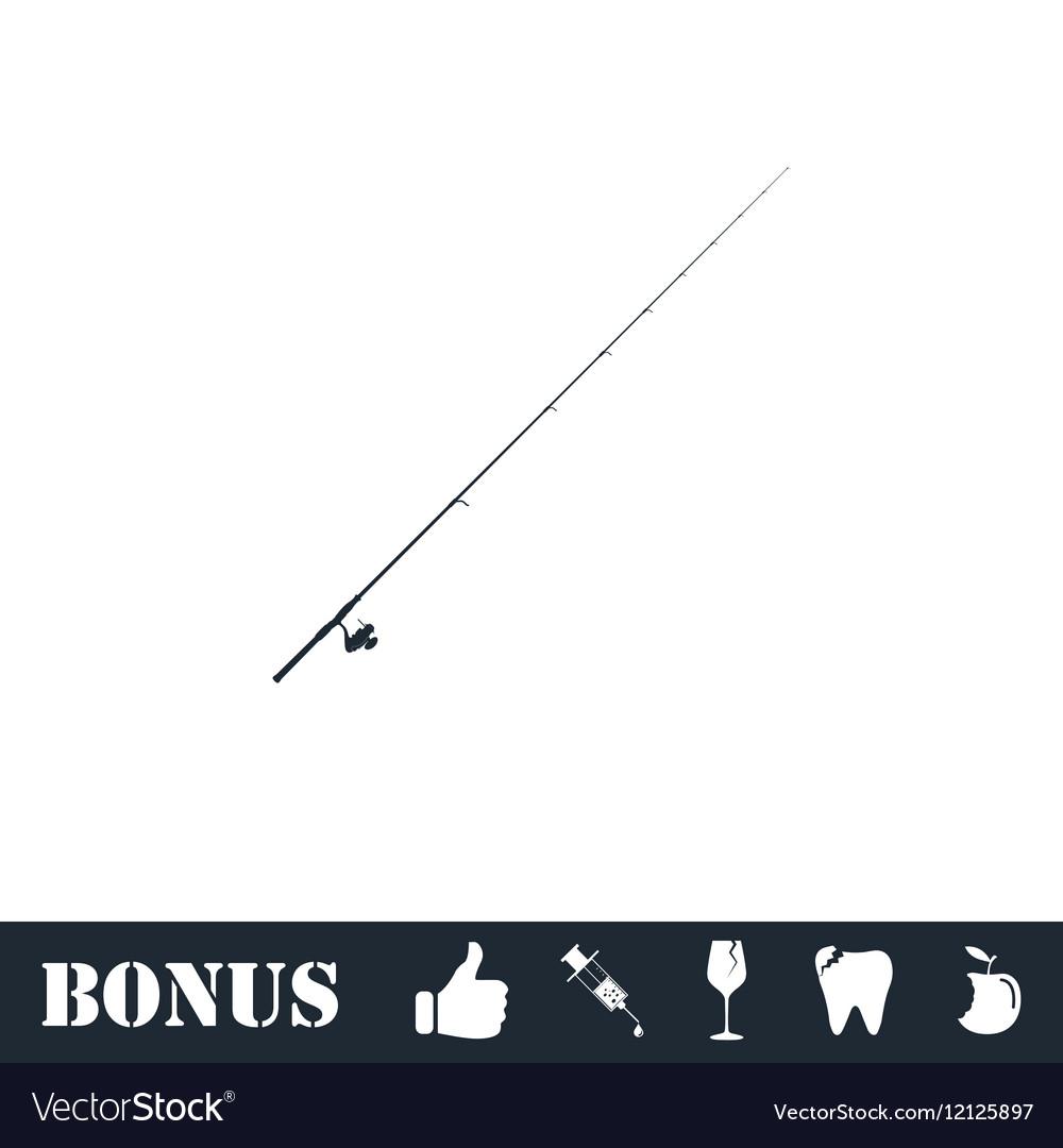 Fishing rod icon flat