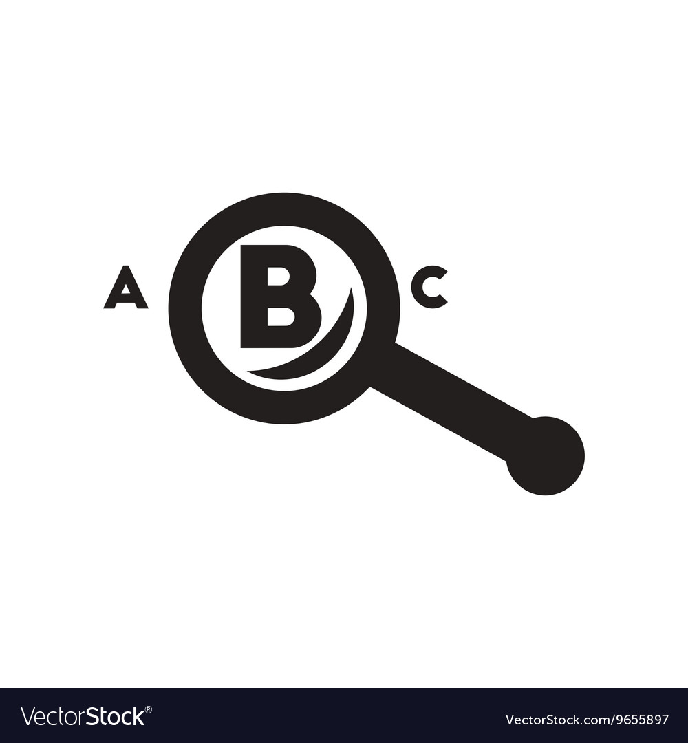 Flat icon in black and white style magnifying
