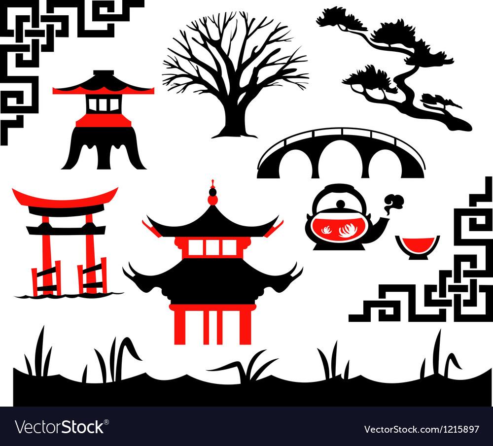 Garden Asian Set vector image