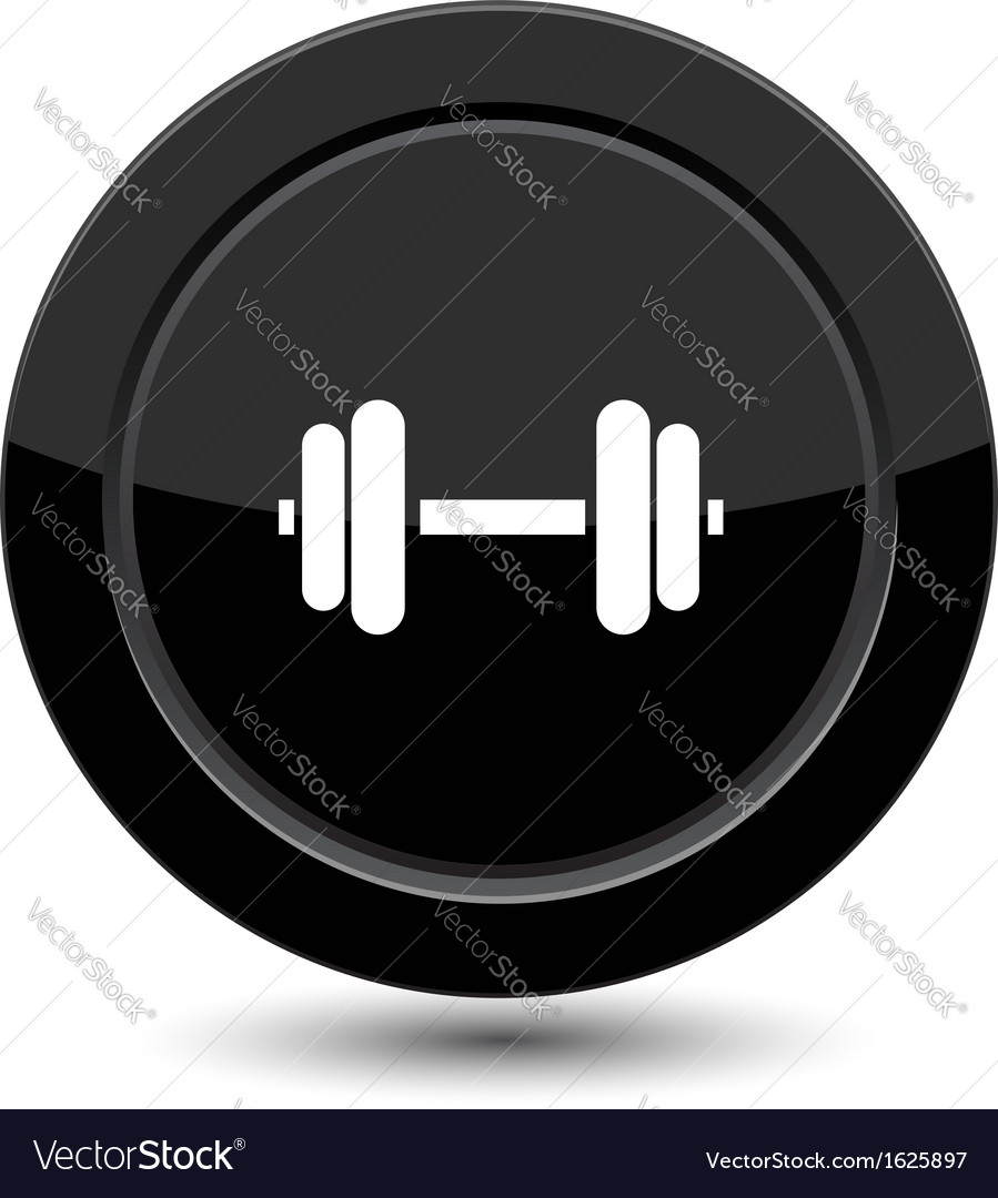 Glossy black dumbbell button
