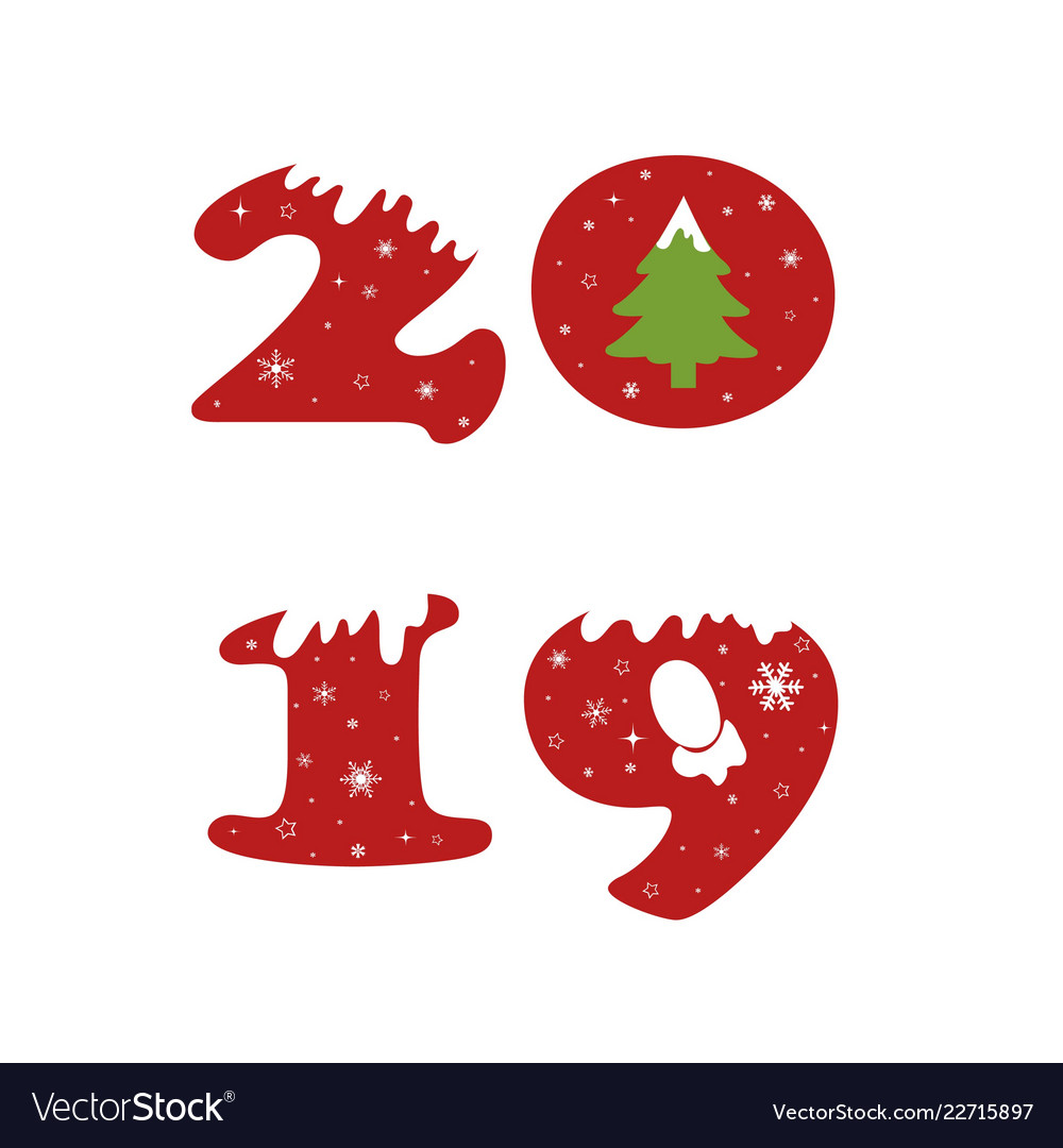 Happy new year 2019 text design pattern
