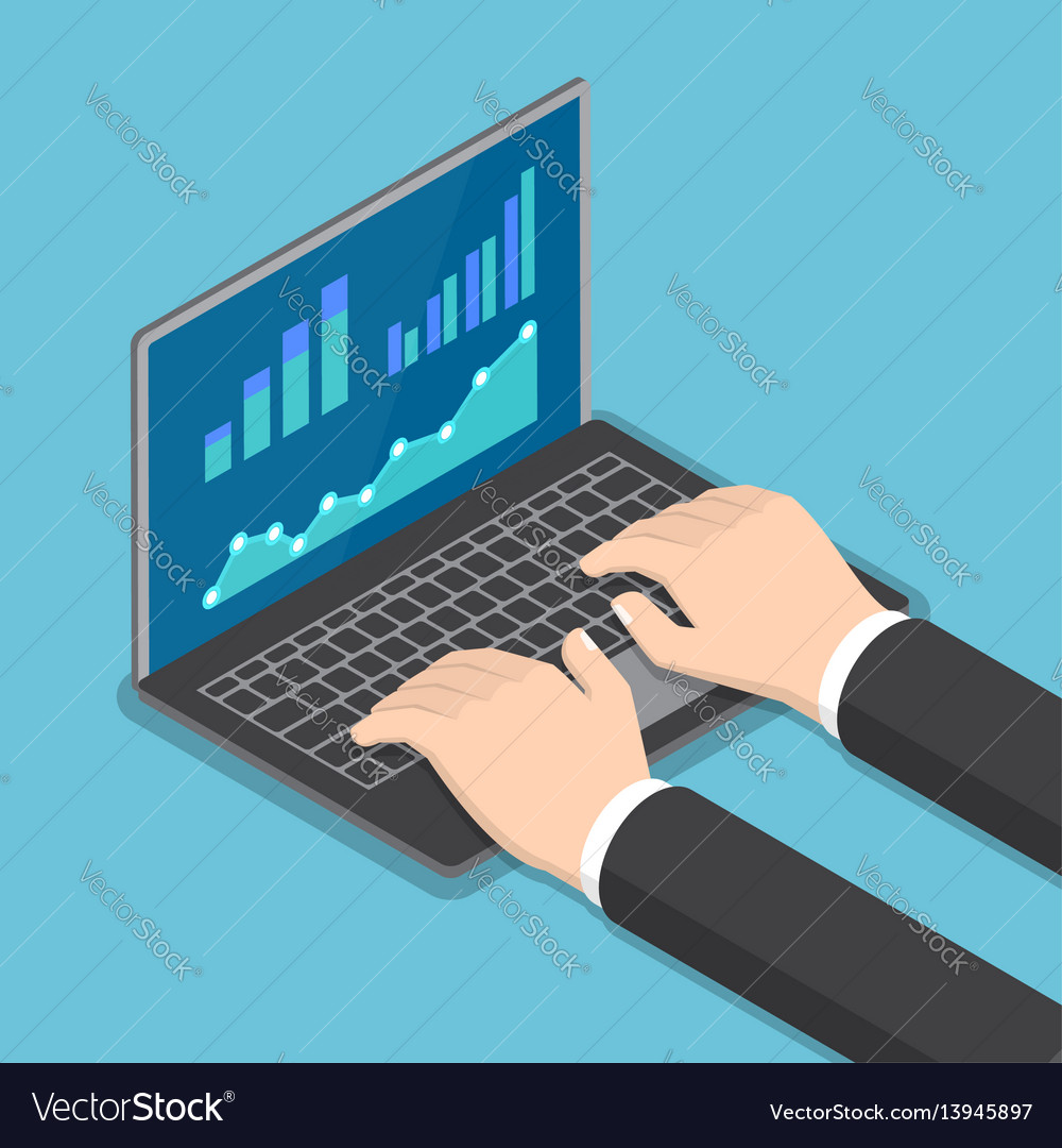 Isometric businessman hands using laptop vector image