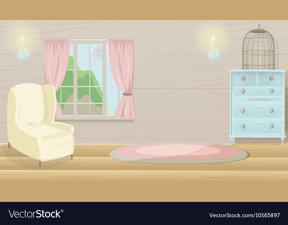 Room Background: Living Room Vintage Cartoon Background Royalty Free Vector