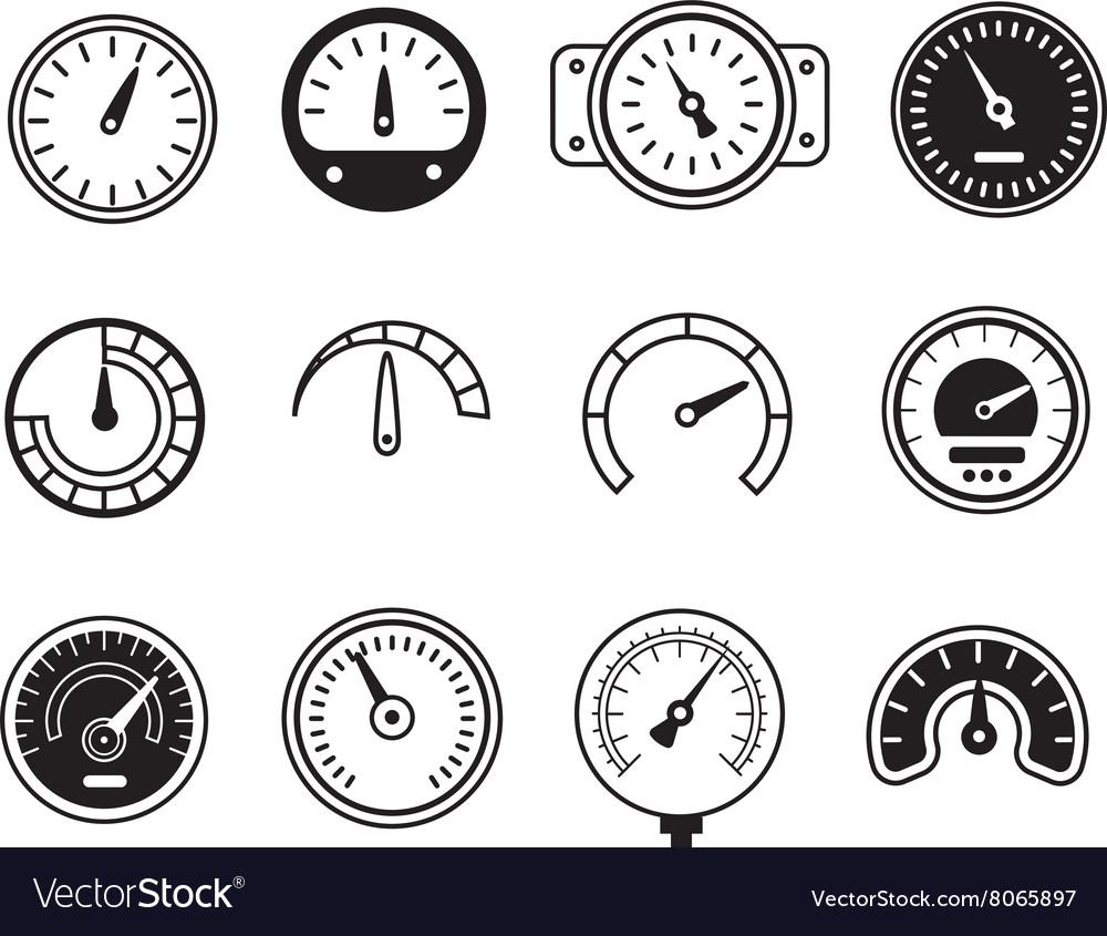 Meter icons Symbols of speedometers manometers vector image