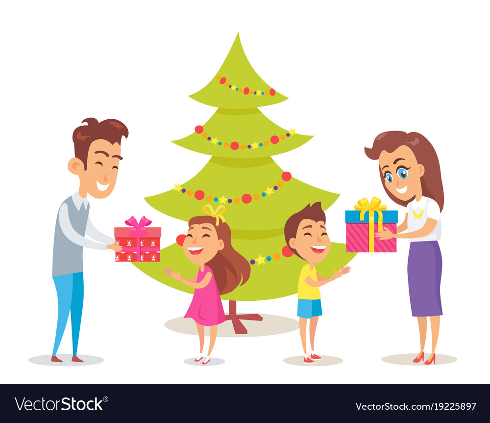 Parents giving gifts to their happy children Vector Image