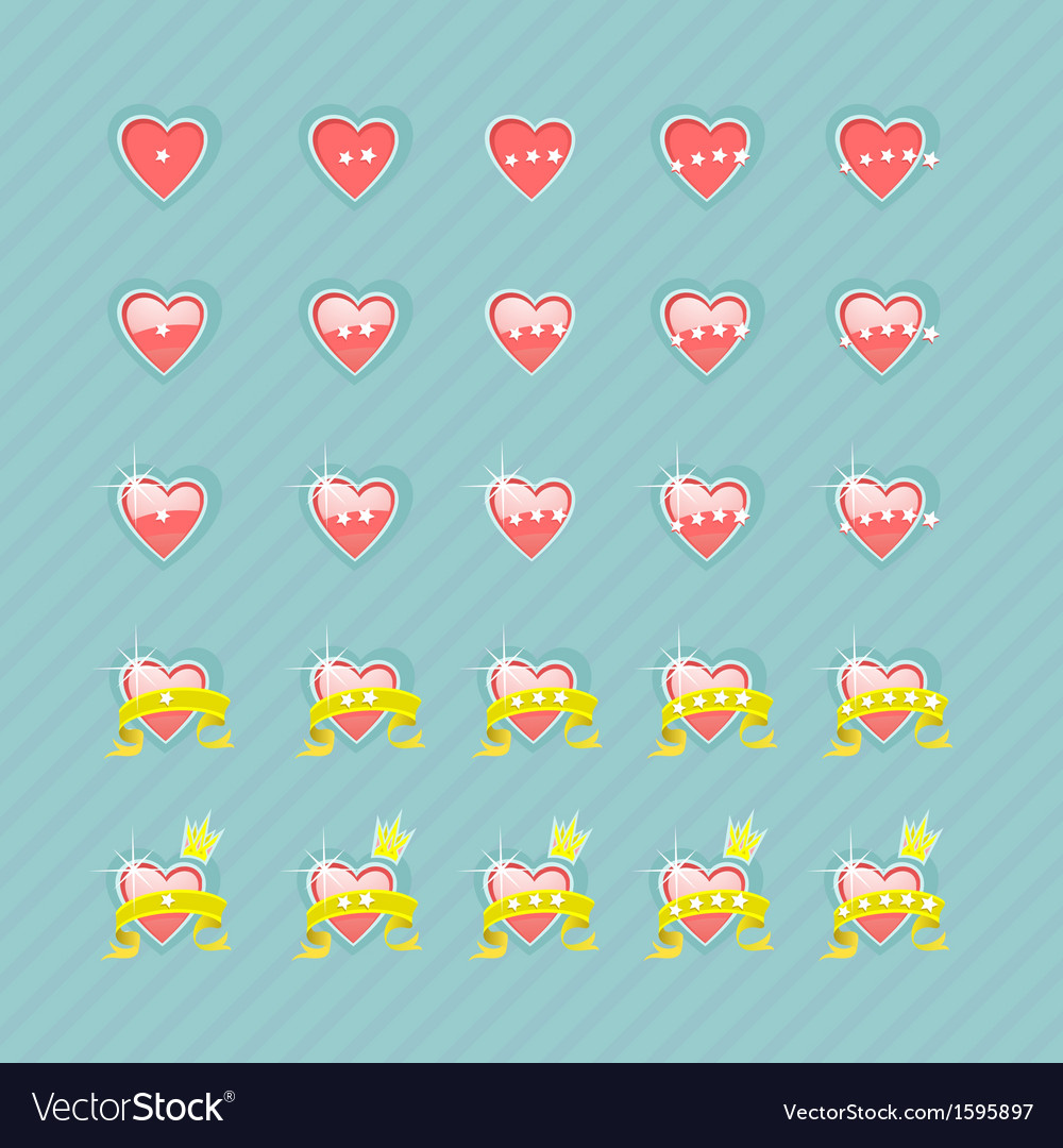 Set of hearts and levels