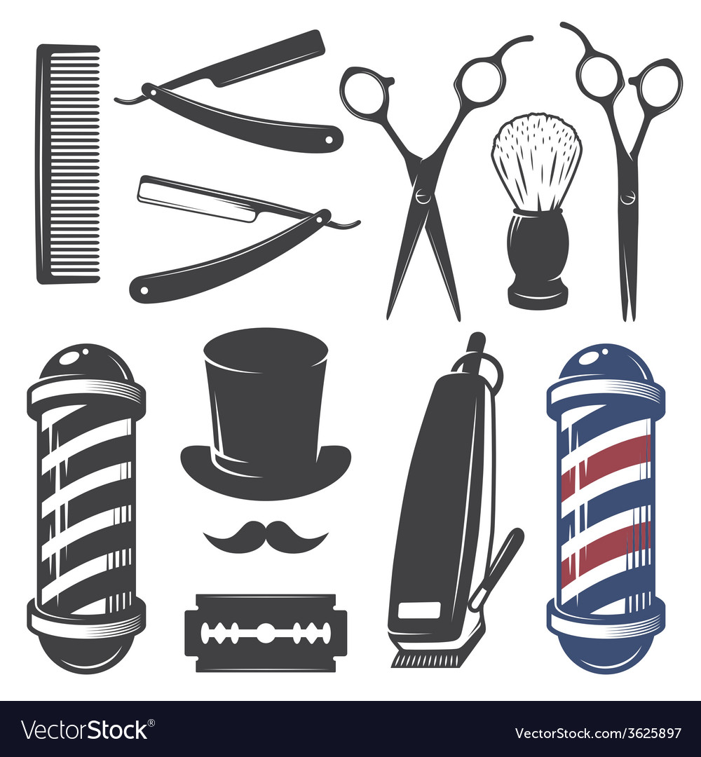 Set vintage barber shop elements