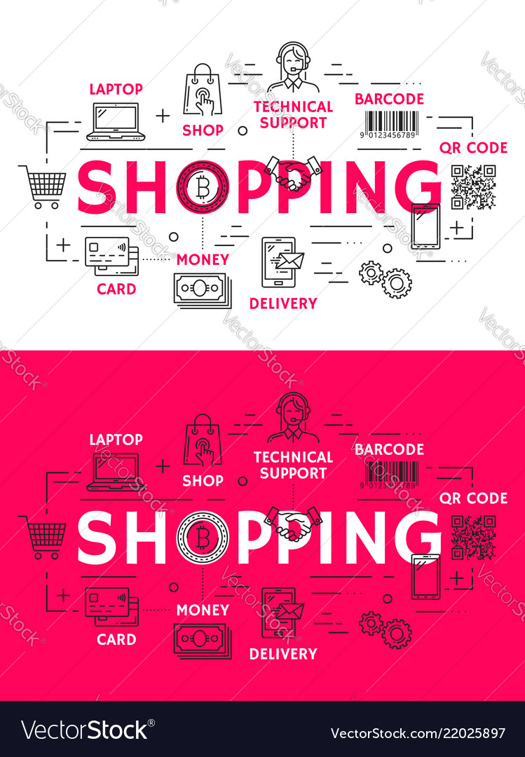 Shopping and retail outline icons