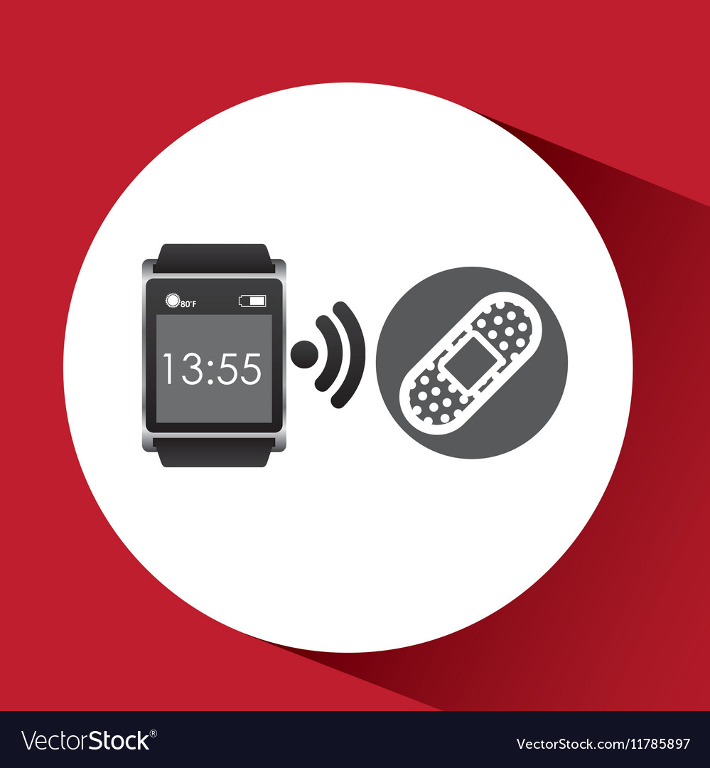 Square smart watch health cure band vector image