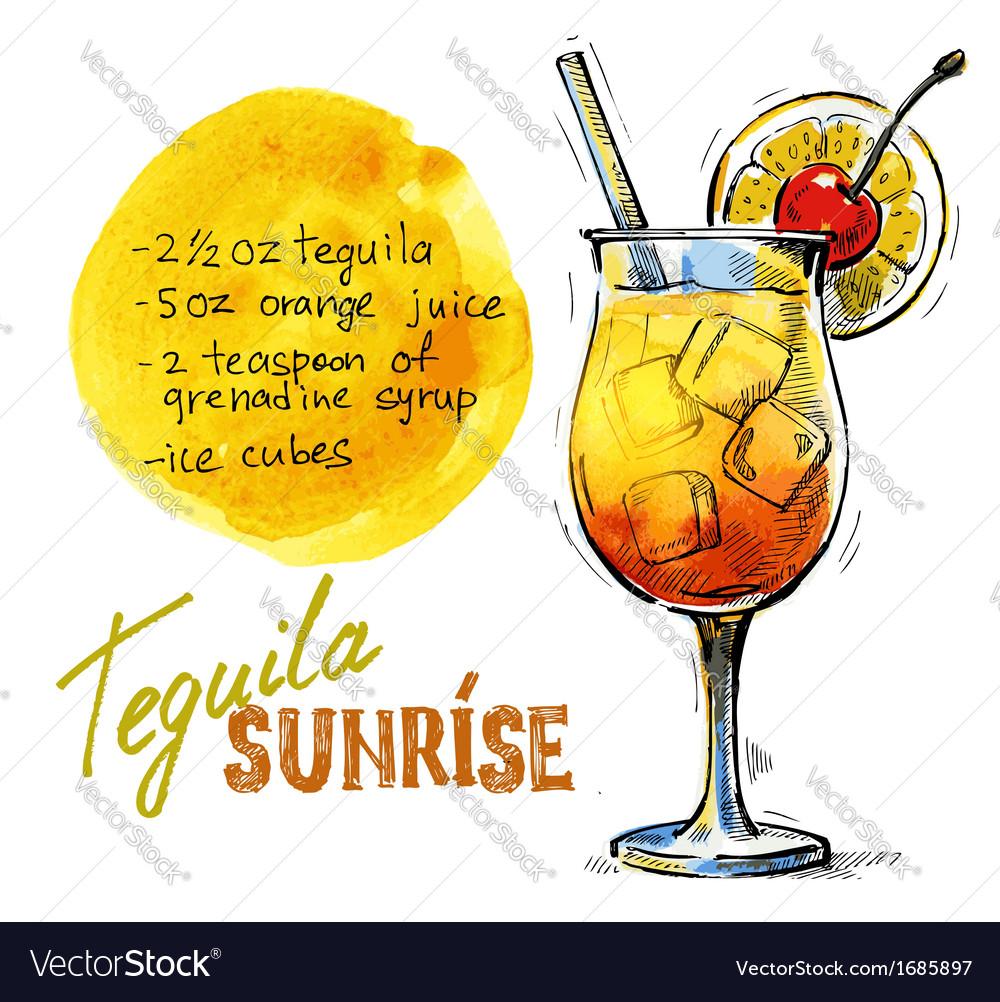 tequila sunrise royalty free vector image vectorstock rh vectorstock com Tequila Shot Clip Art tequila sunrise clipart