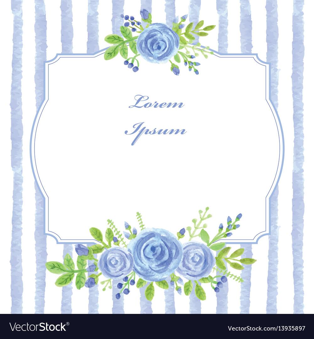 Vintage cardwatercolor blue rosestripslabel