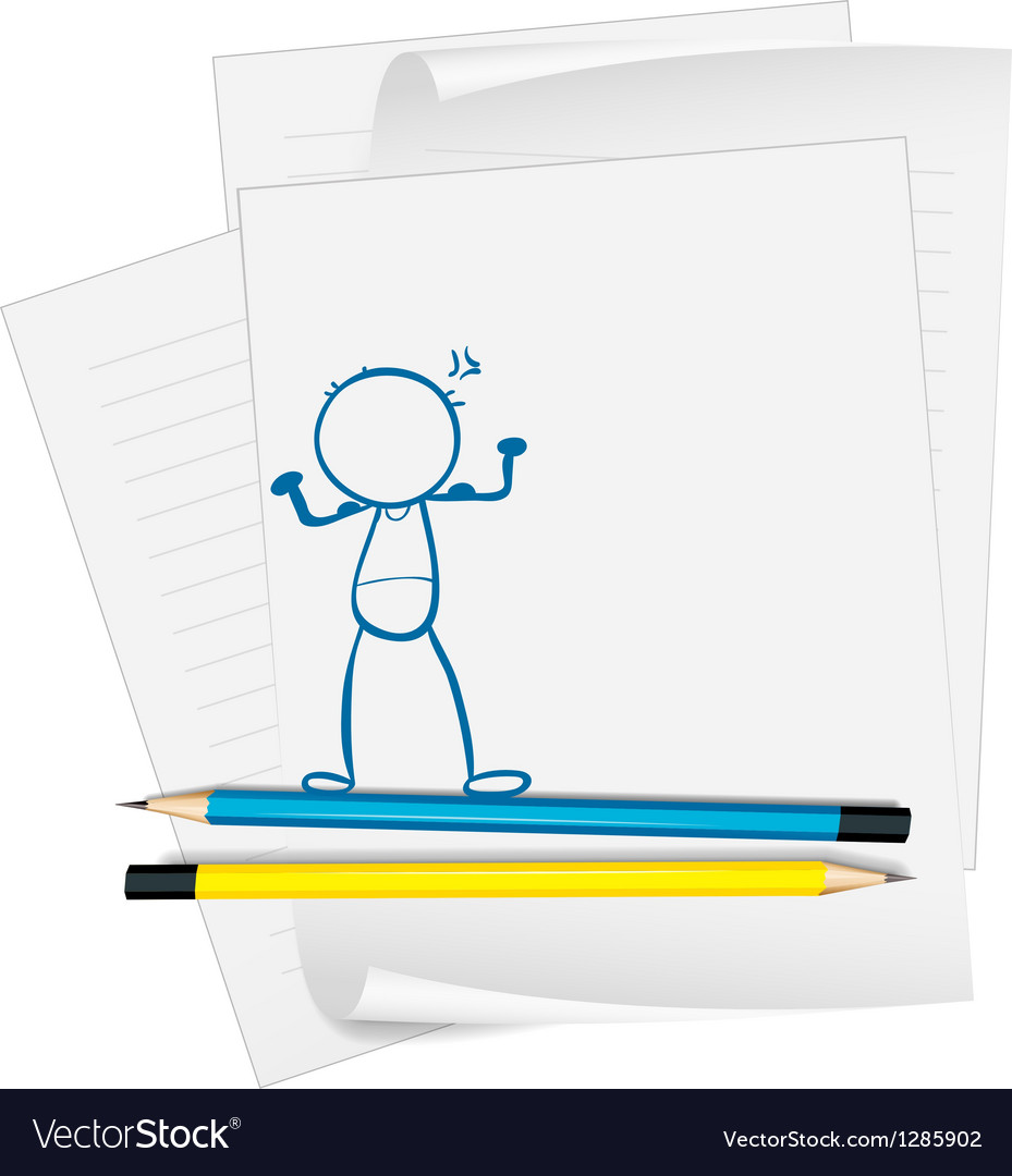 a paper with a drawing of a boy standing vector image